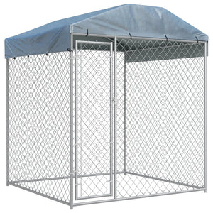 Outdoor Dog Kennel with Canopy Top 2x2x2.1 m