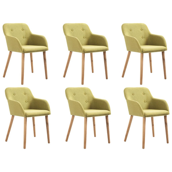 6 pcs Dining Chairs Green Fabric and Solid Oak