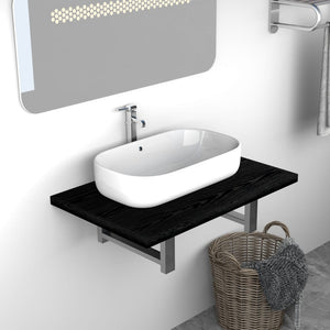 Bathroom Wall Shelf for Basin Black 60x40x16.3 cm