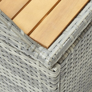 Garden Storage Bench 120 cm Poly Rattan Grey