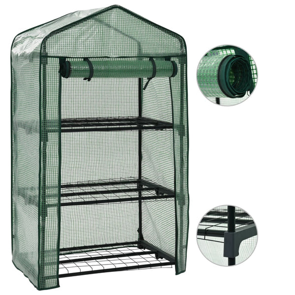 3-Tier Mini Greenhouse 69x49x125 cm