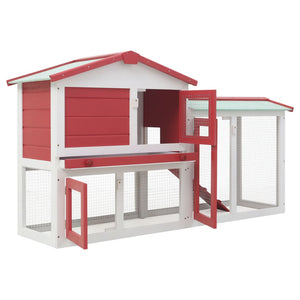 Large Rabbit Hutch Red and White