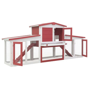 Large Rabbit Hutch Red - White