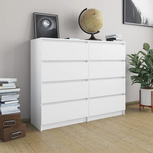 Drawer Sideboard White 120x35x97 cm Chipboard