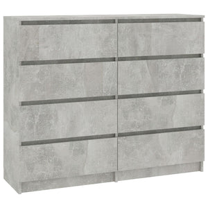 Drawer Sideboard Concrete Grey 120x35x97 cm Chipboard