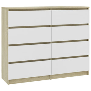 Drawer Sideboard White and Sonoma Oak 120x35x97 cm Chipboard