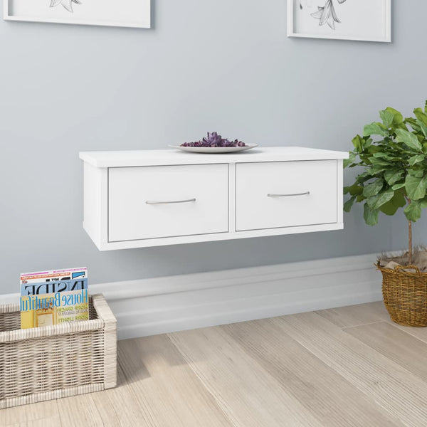 Wall-mounted Drawer Shelf White 60x26x18.5 cm Chipboard