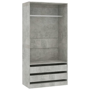 Wardrobe Concrete Grey 100x50x200 cm Chipboard