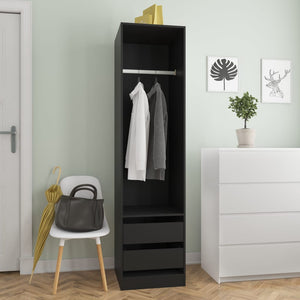 Wardrobe with Drawers Black 50x50x200 cm Chipboard