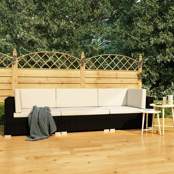 3 Piece Garden Sofa Set with Cushions Poly Rattan Black