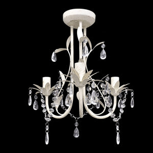 Crystal Pendant Ceiling Lamp Chandeliers 4 pcs Elegant White