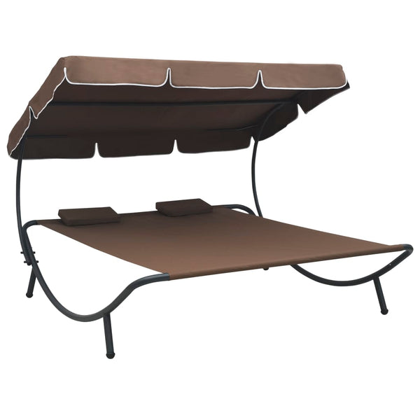 Outdoor Lounge Bed with Canopy and Pillows Brown