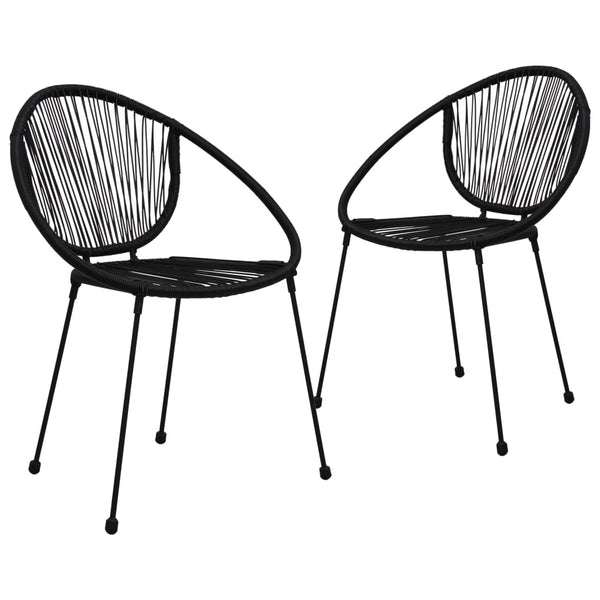 Garden Chairs 2 pcs PVC Rattan Black