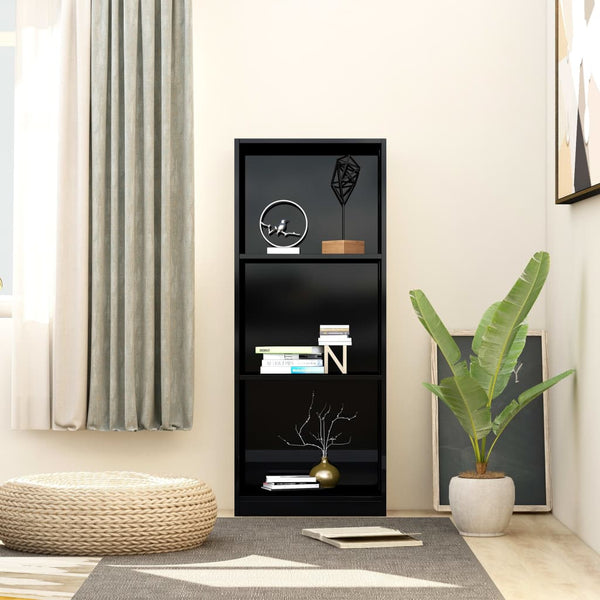 3-Tier Book Cabinet High Gloss Black 40x24x108 cm Chipboard