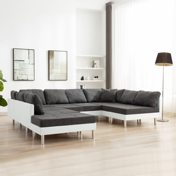 Sectional Sofa Faux Leather White