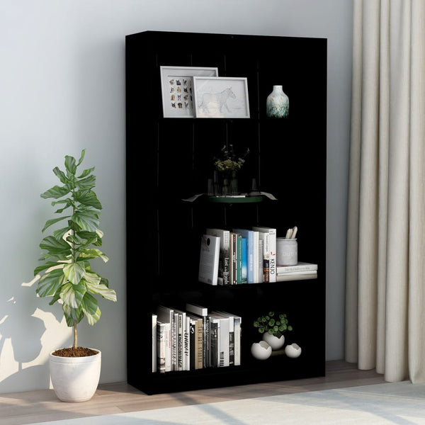 4-Tier Book Cabinet High Gloss Black 80x24x142 cm Chipboard