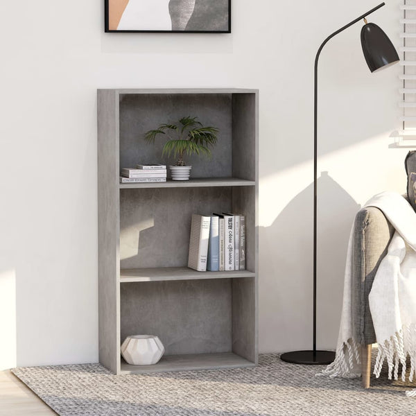 3-Tier Book Cabinet Concrete Grey 60x30x114 cm Chipboard