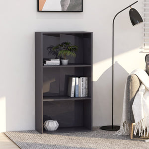 3-Tier Book Cabinet High Gloss Grey 60x30x114 cm Chipboard