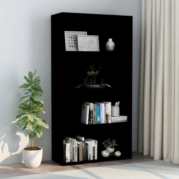 4-Tier Book Cabinet Black 80x30x151.5 cm Chipboard