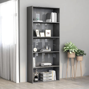 5-Tier Book Cabinet High Gloss Grey 80x30x189 cm Chipboard