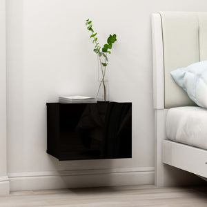 Bedside Cabinets 2 pcs High Gloss Black 40x30x30 cm Chipboard