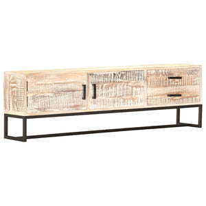 TV Cabinet White 140x30x45 cm Solid Acacia Wood