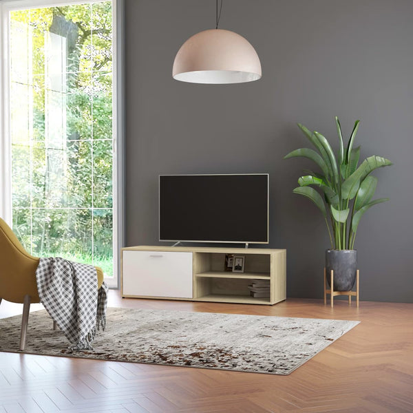 TV Cabinet White and Sonoma Oak 120x34x37 cm Chipboard