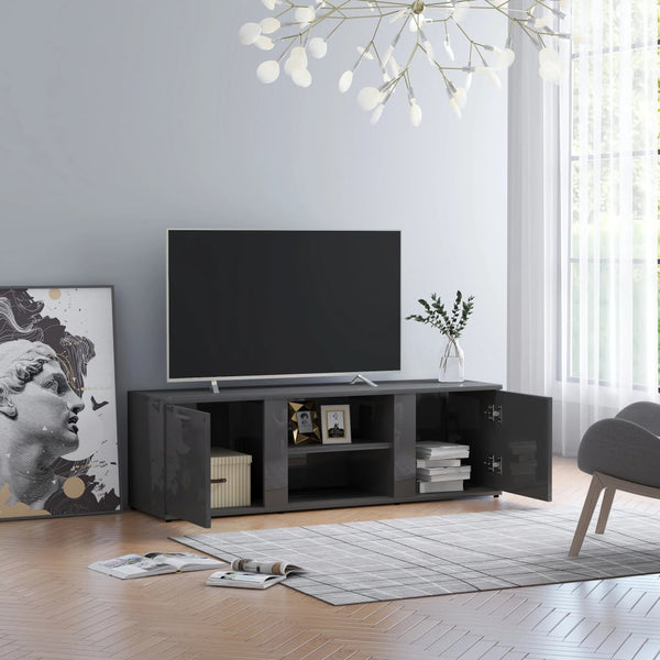 TV Cabinet High Gloss Grey 120x34x37 cm Chipboard