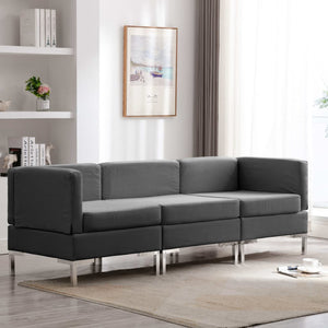 3 Piece Sofa Set Fabric Dark Grey