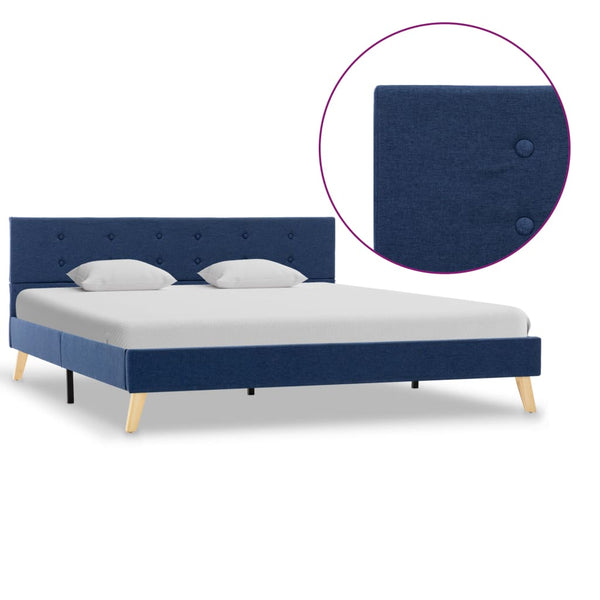 Bed Frame Blue Fabric 153x203 cm