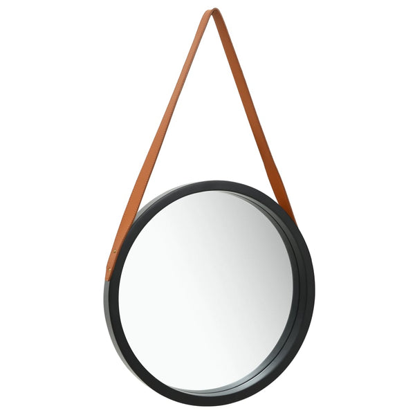 Wall Mirror with Strap 40 cm Black