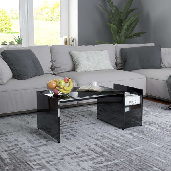 Coffee Table High Gloss Black 90x45x35 cm Chipboard