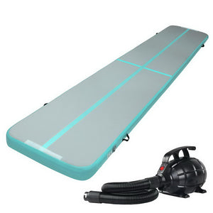 Everfit GoFun 5X1M Inflatable Air Track Mat with Pump Tumbling Gymnastics Green