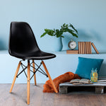 Set of 4 Retro Beech Wood Dining Chair - Black