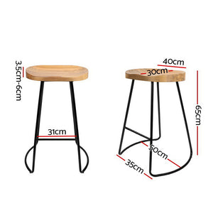 Set of 2 Steel Barstools with Wooden Seat 65cm - Online Discounts