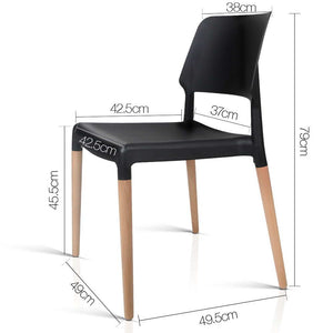 Set of 4 Wooden Stackable Dining Chairs - Black