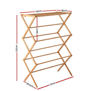 Bamboo Clothes Dry Rack Folable Towel Hanger Laundry Drying