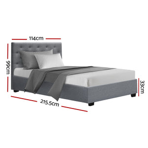 Artiss VILA King Single Size Gas Lift Bed Frame Base With Storage Mattress Grey Fabric
