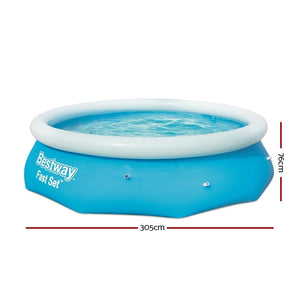 Bestway Above Ground Swimming Pool 305x76cm Fast Set Pool Family