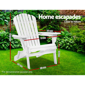 Gardeon Foldable Adirondack Beach Chair - White