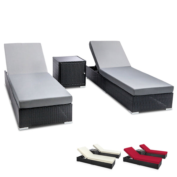 Outdoor Sun Lounge Wicker Lounger Setting Day Bed Chair Pool Furniture Rattan Sofa Cushion Garden Patio 3pc Black Frame