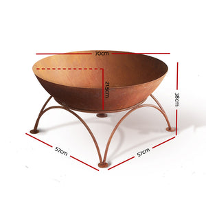 Grillz Rustic Fire Pit Brazier Portable Charcoal Iron Bowl Outdoor Wood Burner 70CM