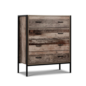 Chest of Drawers Tallboy Dresser Storage Cabinet Industrial Rustic