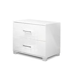 High Gloss Two Drawers Bedside Table - White