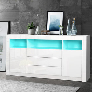 Buffet Sideboard Cabinet 3 Drawers High Gloss Storage Cupboard LED