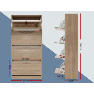 Shoe Cabinet Shoes Storage Rack Organiser 60 Pairs Wood Shelf Drawer