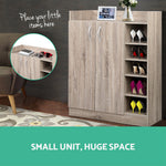 2 Doors Shoe Cabinet Storage Cupboard - Wood