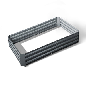 Galvanised Raised Garden Bed - 150 x 90 x 30cm - Aluminium Grey