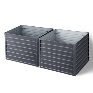 Greenfingers Galvanised Steel Raised Garden Bed Instant Planter 100 x 100 x 77cm Aluminium X2