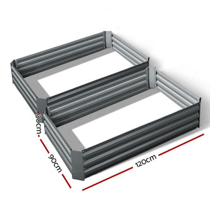 Green Fingers Set of 2 120 x 90cm Raised Garden Bed - Aluminium Grey